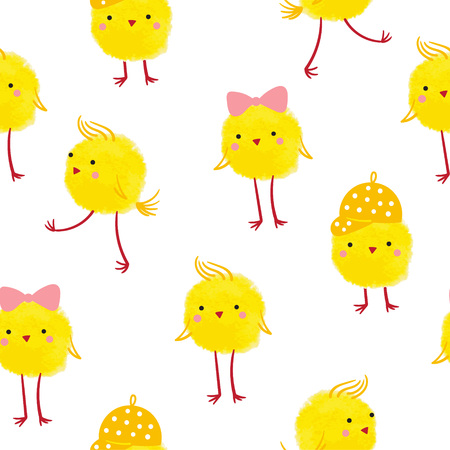 Seamless background with cute yellow chicks on a white background. Ilustração