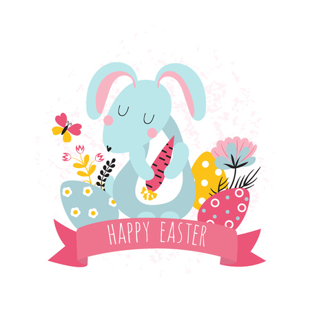 Easter background with cartoon rabbit keeps carrots decorated with flowers and  inscription
