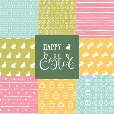 Easter set with 8 cute seamless background with rabbits, eggs and doodle patterns