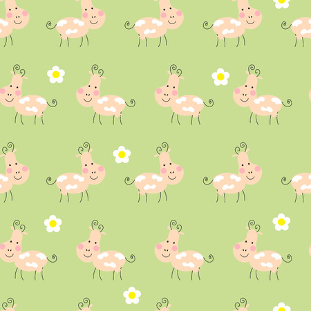 Funny happy cow and flowers pattern Illustration