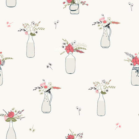 Seamless background with flower bouquets in bottles, Vintage colors.
