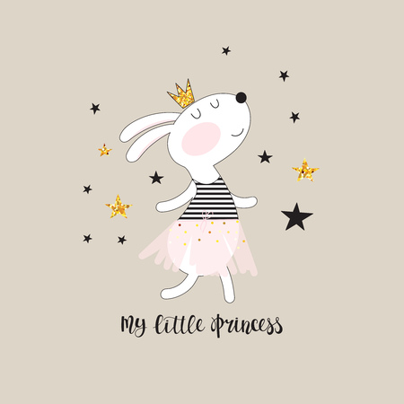Cute dancing bunny in a pink skirt and inscription - my little princess. Illustration