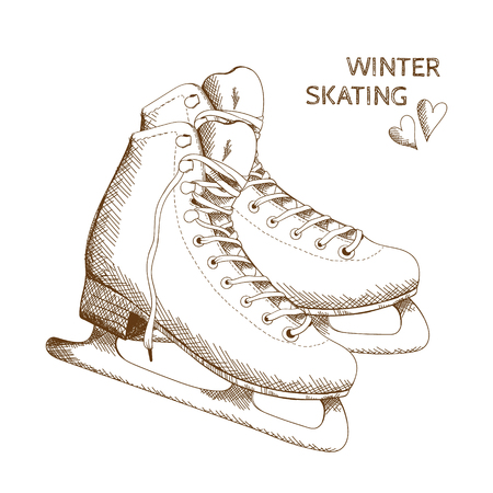 Vector poster with figure skates isolated on the white background. Illustration