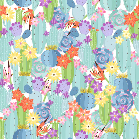 Seamless pattern with colorful cactus and succulents. Ilustração