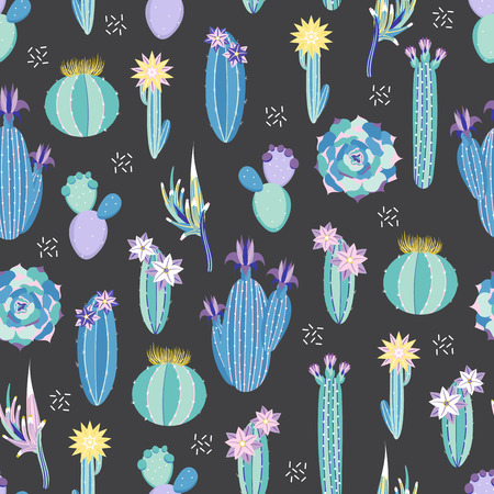 Vector floral seamless pattern with cactuses and succulents on a dark background