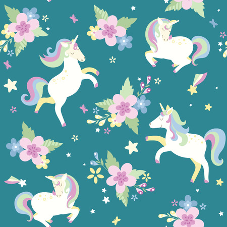 Unicorn with flowers Can be used as decor for playroom, gift wrapping, textiles. Vector illustration