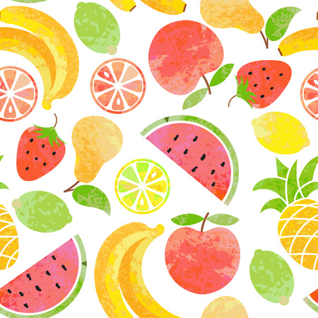 Vector seamless fruit pattern. Çizim