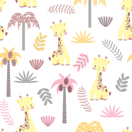 Seamless pattern with cute giraffe Vector illustration. Ilustrace