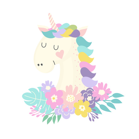 Unicorn and flowers Vector illustration.