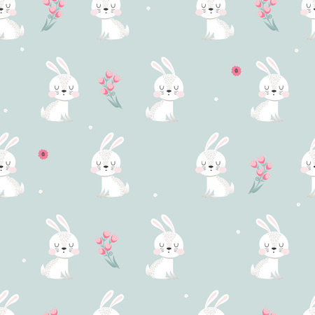Cute seamless pattern with little Bunny and flowers on a gray background. Childish illustration in cartoon style.