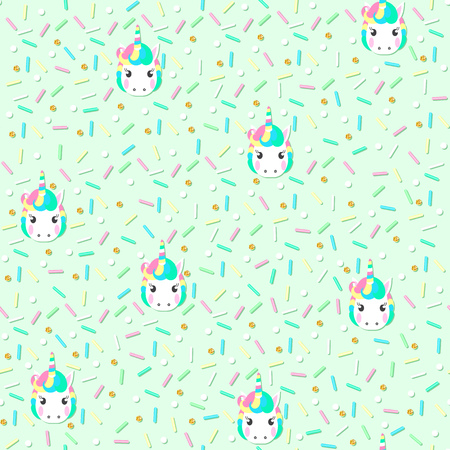 Seamless pattern with unicorn head and sweet color sugar sprinkle on a green background. Vector illustration. Illustration