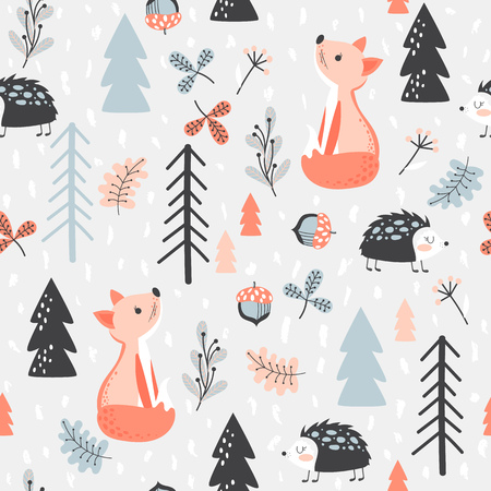 Cute seamless pattern with fox and hedgehog in forest. Vector illustration in cartoon style.
