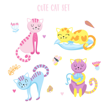 Set of 4 cute smiling cats in the cartoon style on a white background. Positive character.