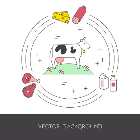Illustration of a cow and farm products (meat, milk, cheese). The concept of eco-products and eco-farm. Vector illustration. Ilustrace