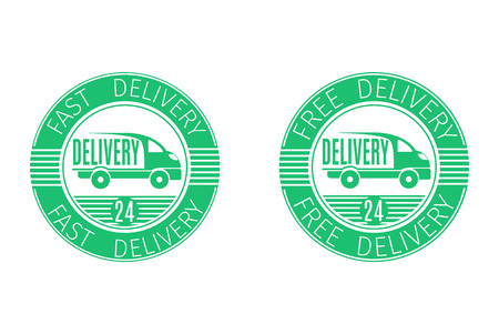 Emblem fast delivery and free delivery.Elements for your design. Vector illustration.