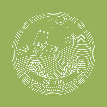 Vector landscape with tractor and forest in the background and ears of wheat with a frame in the form of a ribbon for your text in a linear style - the concept of logo design template (Agriculture)