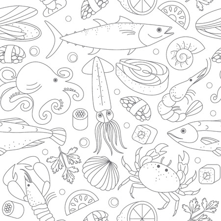 A Seamless vector background with different marine animals and fishes. Great for restaurant menu backdrop or to the surface of the site and others.