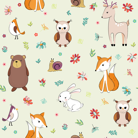 Lovely concept childish seamless pattern with forest animals and flowers. Seamless background in vector. Vettoriali