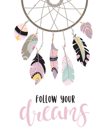 Boho template with inspirational quote - follow your dreams. Vector ethnic design with dreamcatcher. (under clipping mask) Ilustração