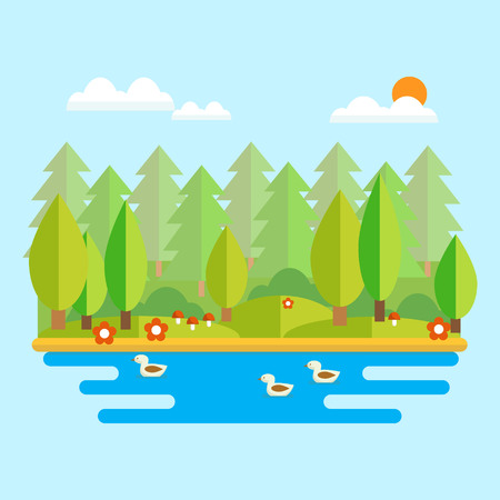 Forest landscape vector illustration in flat style. Forest lake with ducks and forest in the background on a sunny day.