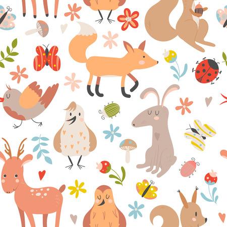 Modèle sans couture avec des animaux de la forêt de dessin animé mignon sur fond blanc. Illustration vectorielle enfants.