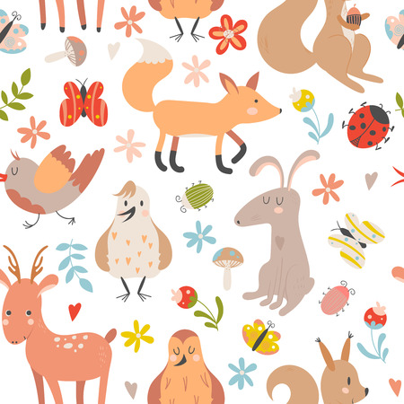Nahtloses Muster mit niedlichen Karikaturwaldtieren auf weißem Hintergrund. Kindervektorillustration.