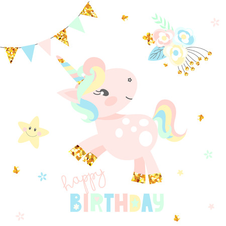 Happy birthday card with cute unicorn icon in light pastel color on white background. Vector illustration. Ilustrace