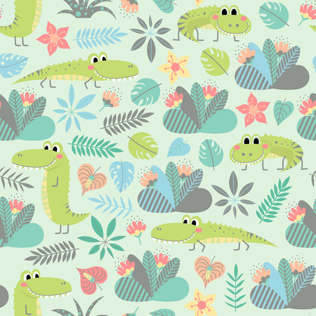 Seamless pattern with cute crocodiles and plants in cartoon style. Children vector background.