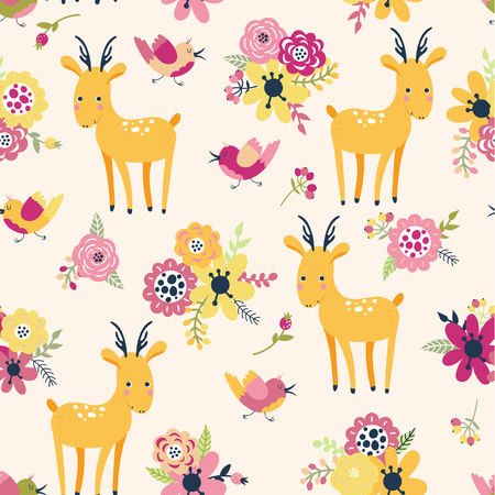 Seamless pattern with deer and flowers on a yellow background in cartoon style. Cute vector illustration for children.