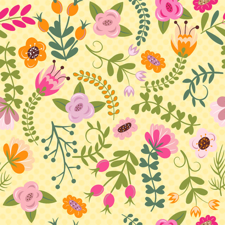 Seamless texture with flowers and leaves. Can be used for wallpaper, pattern fills, web page background, surface textures Vectores