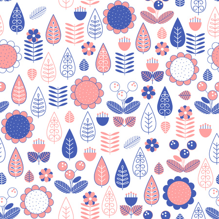Seamless background with stylized plants in blue and pink color on a white.  Vector illustration.