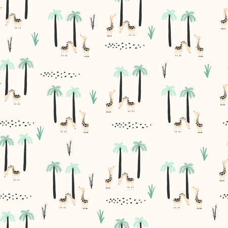 Doodle seamless pattern with giraffes and palm trees. Funny background in vector for kids.