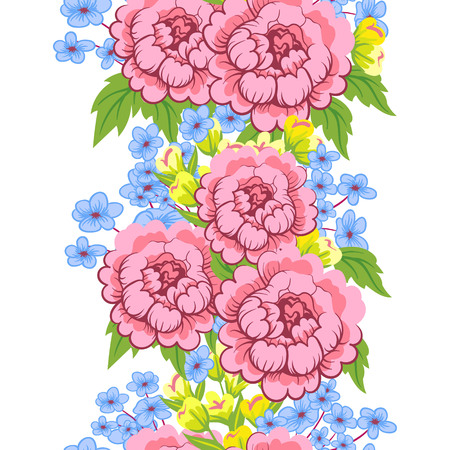 Seamless floral ornament. The original design of the strip of flowers can be used as a pattern and as a border . Vector illustration Ilustrace