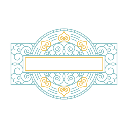 Vector floral frame in mono line style with copy space for text