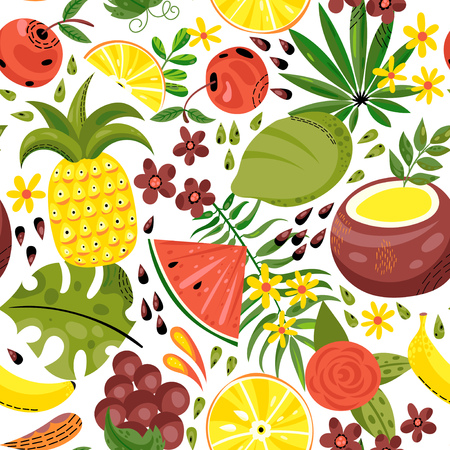Seamless background with various tropical fruits on white. Vector fruit pattern.