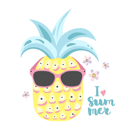 Summer illustration with pineapple in sunglasses