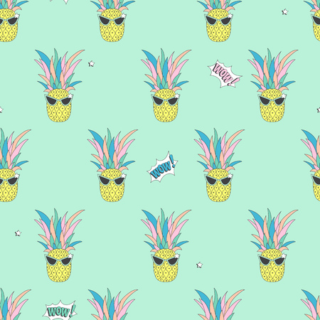 Seamless background with cute pineapple