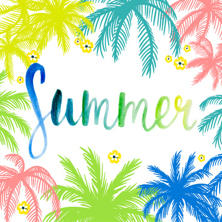 Lettering Summer on a background of palm.
