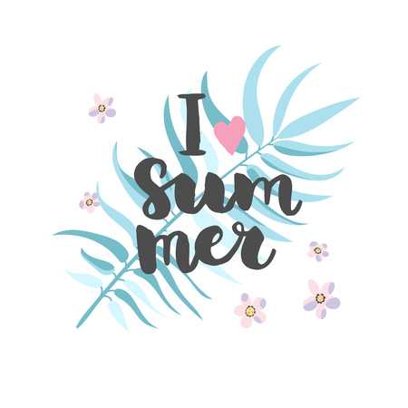 Palm leaf with lettering summer background