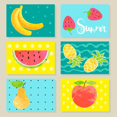 Set of summer fruit cards.