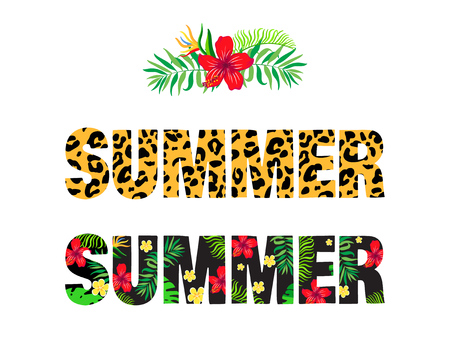 Word summer with tropical pattern.