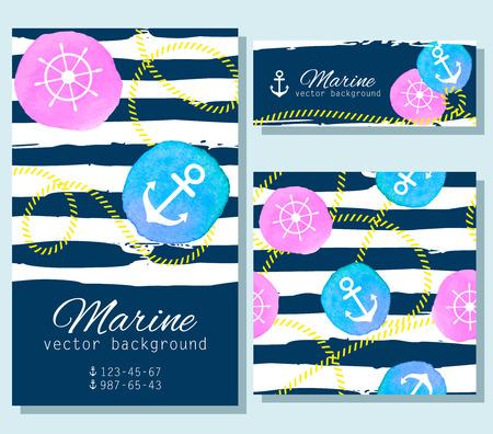 Set of  nautical cards. Ilustrace