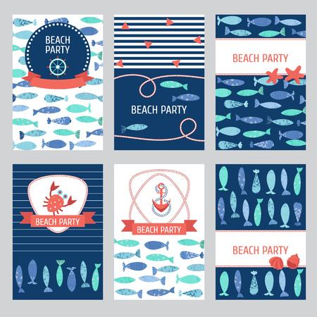 Set of 6 Nautical cards Ilustrace
