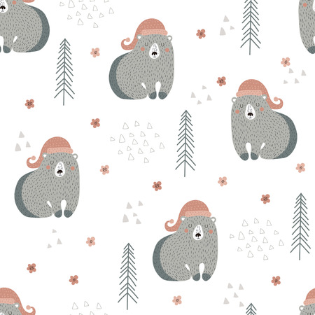 Seamless pattern with bears in a hat with trees and flowers on a white background in Scandinavian style. Vector illustration. Ilustrace