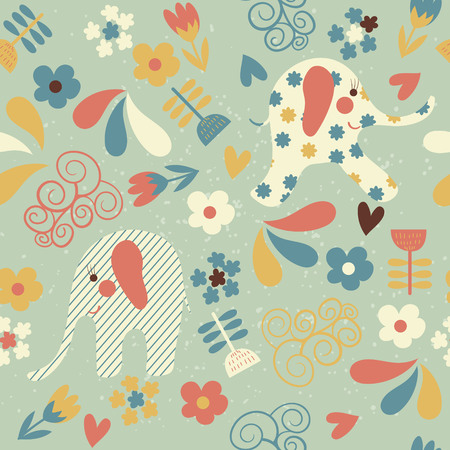 Seamless pattern with cute elephants and flowers. Children background for your design. Vector illustration.