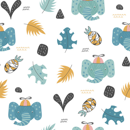 Tropical seamless pattern with cute elephants, leaves and pineapples in a doodle style. Vector illustration for children.