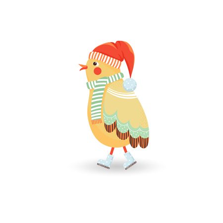 Illustration with cute bird in red cap and green scarf isolated on white in cartoon style. Vector illustration for children. Ilustrace