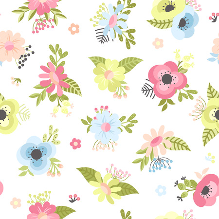 Seamless pattern with flowers, leaves and berries in cartoon style on a white background. Vector illustration. Ilustrace