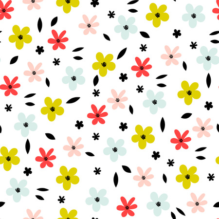 Seamless floral pattern with small abstract flower heads on white background. Simple flower vector background.