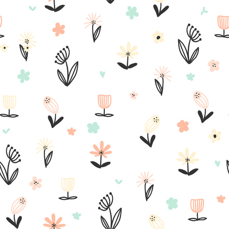 Seamless floral pattern with small abstract flowers on white background. Simple flower vector background.
